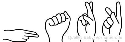 Hark im Fingeralphabet der Deutschen Gebärdensprache