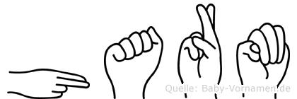 Harm im Fingeralphabet der Deutschen Gebärdensprache