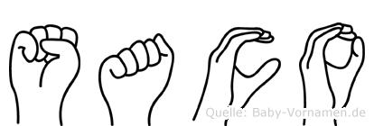 Saco in Fingersprache für Gehörlose