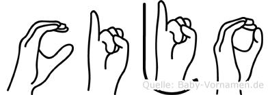 Cijo im Fingeralphabet der Deutschen Gebärdensprache