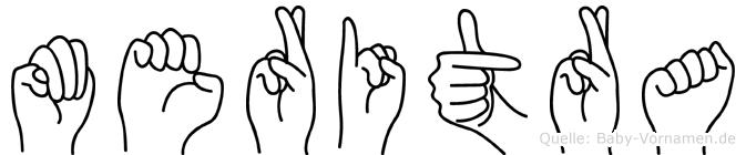 Meritra im Fingeralphabet der Deutschen Gebärdensprache