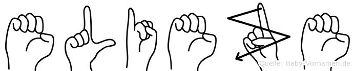 Elieze im Fingeralphabet der Deutschen Gebärdensprache