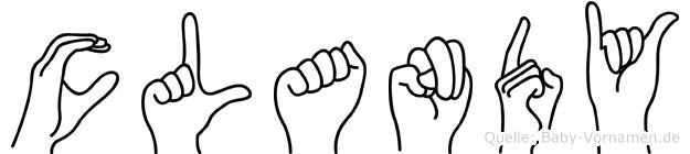 Clandy im Fingeralphabet der Deutschen Gebärdensprache