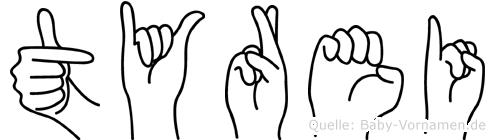 Tyrei im Fingeralphabet der Deutschen Gebärdensprache