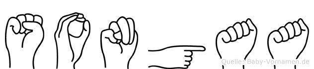 Songaa im Fingeralphabet der Deutschen Gebärdensprache