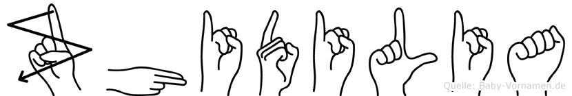 Zhidilia im Fingeralphabet der Deutschen Gebärdensprache