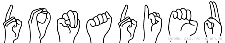 Donadieu im Fingeralphabet der Deutschen Gebärdensprache