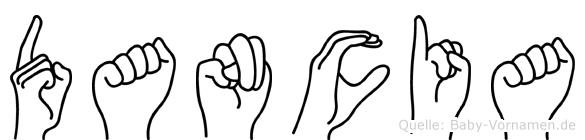 Dancia im Fingeralphabet der Deutschen Gebärdensprache