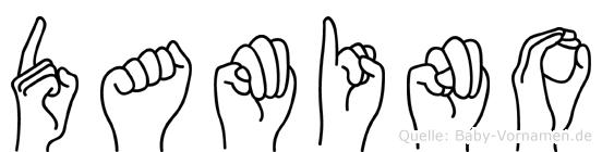 Damino im Fingeralphabet der Deutschen Gebärdensprache