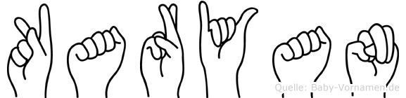 Karyan im Fingeralphabet der Deutschen Gebärdensprache