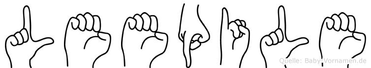 Leepile im Fingeralphabet der Deutschen Gebärdensprache