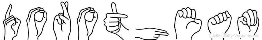 Dorotheam im Fingeralphabet der Deutschen Gebärdensprache
