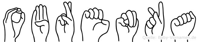 Obrenka im Fingeralphabet der Deutschen Gebärdensprache