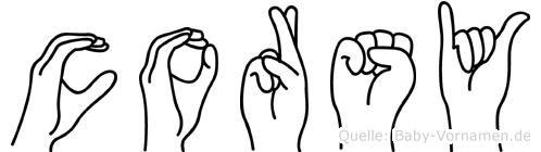 Corsy in Fingersprache für Gehörlose
