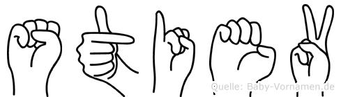 Stiev im Fingeralphabet der Deutschen Gebärdensprache