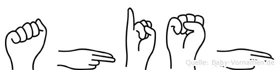 Ahish im Fingeralphabet der Deutschen Gebärdensprache