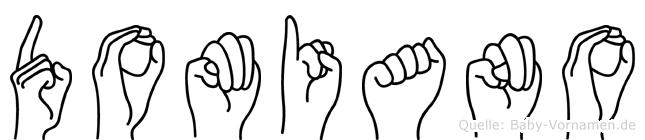 Domiano im Fingeralphabet der Deutschen Gebärdensprache