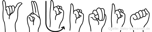 Yujinia im Fingeralphabet der Deutschen Gebärdensprache