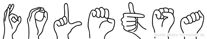Foletsa im Fingeralphabet der Deutschen Gebärdensprache