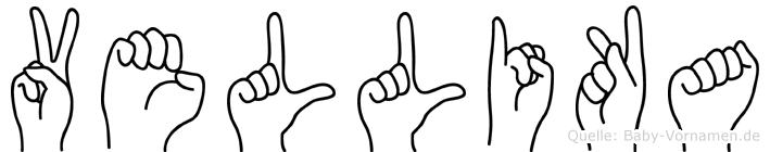 Vellika im Fingeralphabet der Deutschen Gebärdensprache