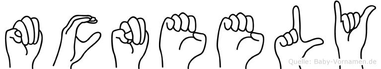 Mcneely im Fingeralphabet der Deutschen Gebärdensprache