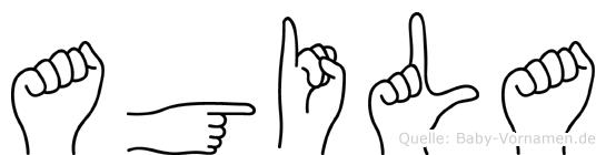 Agila im Fingeralphabet der Deutschen Gebärdensprache