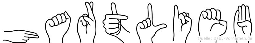 Hartlieb im Fingeralphabet der Deutschen Gebärdensprache