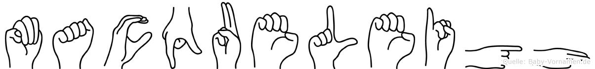 Macqueleigh im Fingeralphabet der Deutschen Gebärdensprache