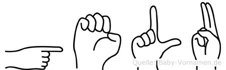 Gelu im Fingeralphabet der Deutschen Gebärdensprache
