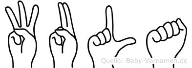 Wula im Fingeralphabet der Deutschen Gebärdensprache