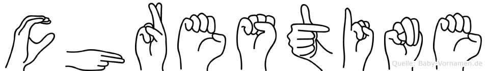 Chrestine im Fingeralphabet der Deutschen Gebärdensprache