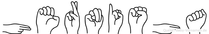 Hernisha im Fingeralphabet der Deutschen Gebärdensprache