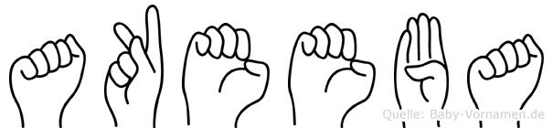 Akeeba im Fingeralphabet der Deutschen Gebärdensprache