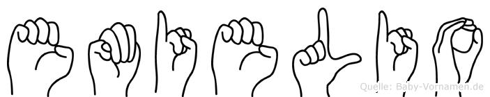 Emielio im Fingeralphabet der Deutschen Gebärdensprache