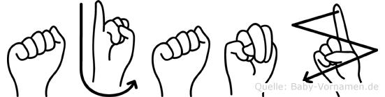Ajanz im Fingeralphabet der Deutschen Gebärdensprache
