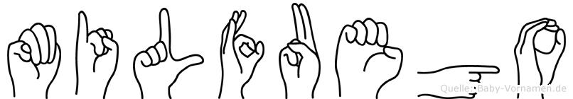 Milfuego im Fingeralphabet der Deutschen Gebärdensprache