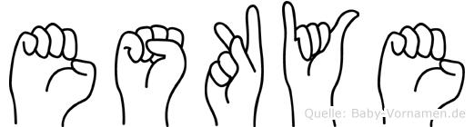 Eskye im Fingeralphabet der Deutschen Gebärdensprache