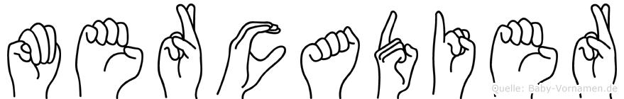 Mercadier im Fingeralphabet der Deutschen Gebärdensprache