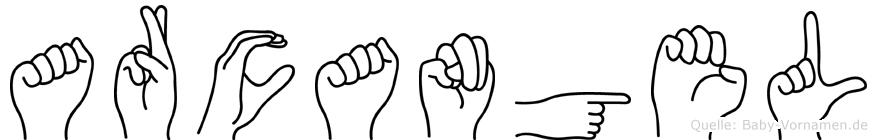 Arcangel im Fingeralphabet der Deutschen Gebärdensprache
