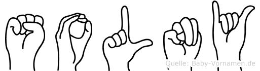 Solny im Fingeralphabet der Deutschen Gebärdensprache