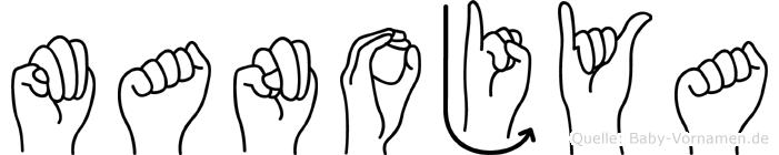 Manojya im Fingeralphabet der Deutschen Gebärdensprache