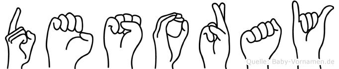 Desoray im Fingeralphabet der Deutschen Gebärdensprache
