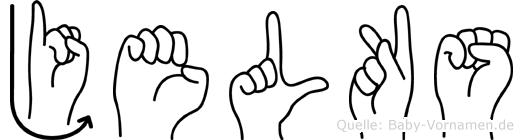Jelks im Fingeralphabet der Deutschen Gebärdensprache