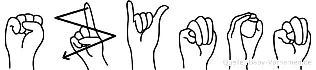 Szymon im Fingeralphabet der Deutschen Gebärdensprache