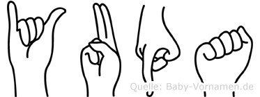 Yupa im Fingeralphabet der Deutschen Gebärdensprache