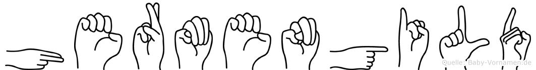 Hermengild im Fingeralphabet der Deutschen Gebärdensprache