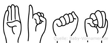 Bian im Fingeralphabet der Deutschen Gebärdensprache