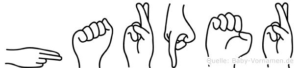 Harper im Fingeralphabet der Deutschen Gebärdensprache