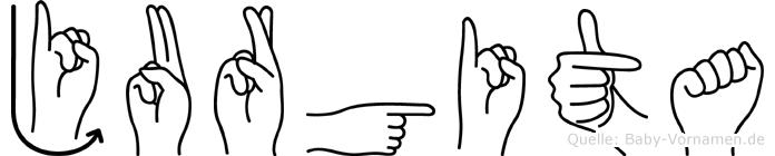 Jurgita im Fingeralphabet der Deutschen Gebärdensprache