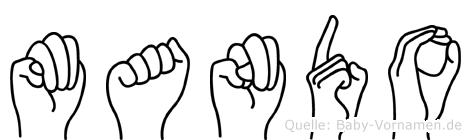 Mando im Fingeralphabet der Deutschen Gebärdensprache